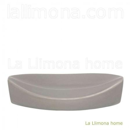 Jabonera de baño pirámide gris. Largo: 13.50 cms.
