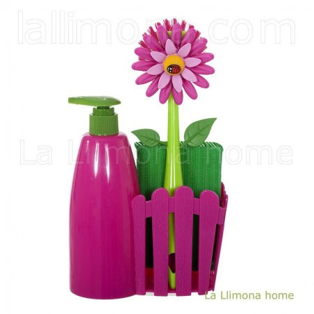 Dosificador de cocina set flor color rosa. Alto: 25 cms.