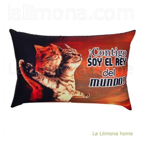 Cojín antiestres gatos rectangular 'Contigo soy el rey del mundo'. Alto: 24 cms.