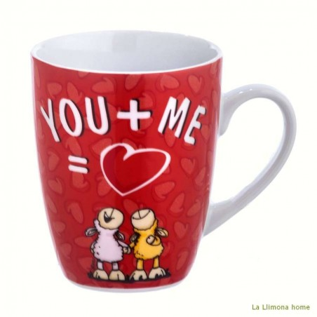 Taza Nici 'You + me = love'. Alto: 10 cms.