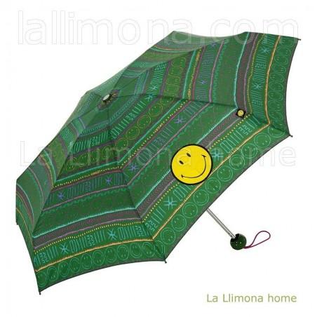 Paraguas Smiley verde manual para mujer. Alto plegado: 20 cms.