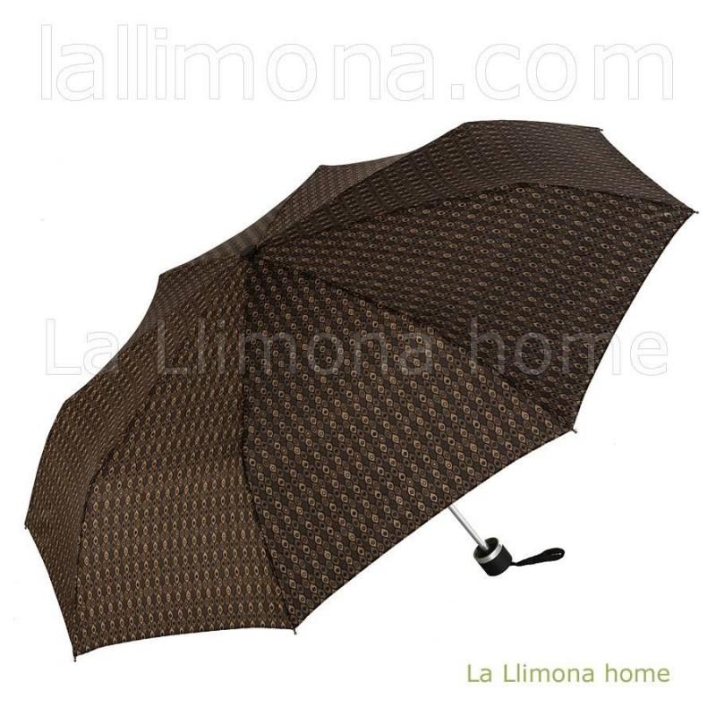 Paraguas Gaudí Cuatro Gotas hombre mujer plegable manual rombos marrón
