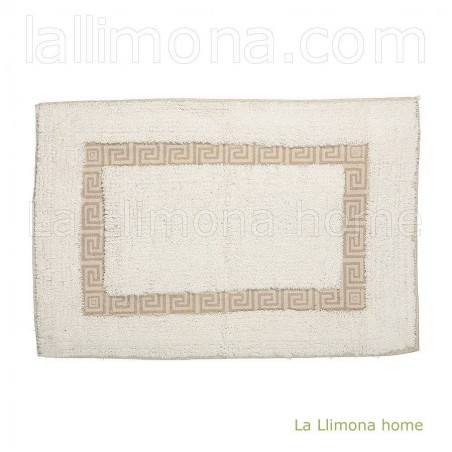 Alfombra de baño greca beig. Medidas: 40 x 60 cms.